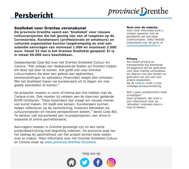 Persbericht Provincie